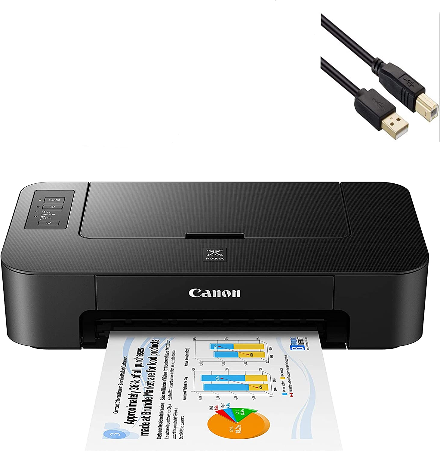 Canon PIXMA TS Series Inkjet Printer - Print Only for Home Business Office Bundle, Up to 4800x1200dpi Color Resolution - 7.7ipm Print Speed, Black - BROAG 4 Feet USB Printer Cable