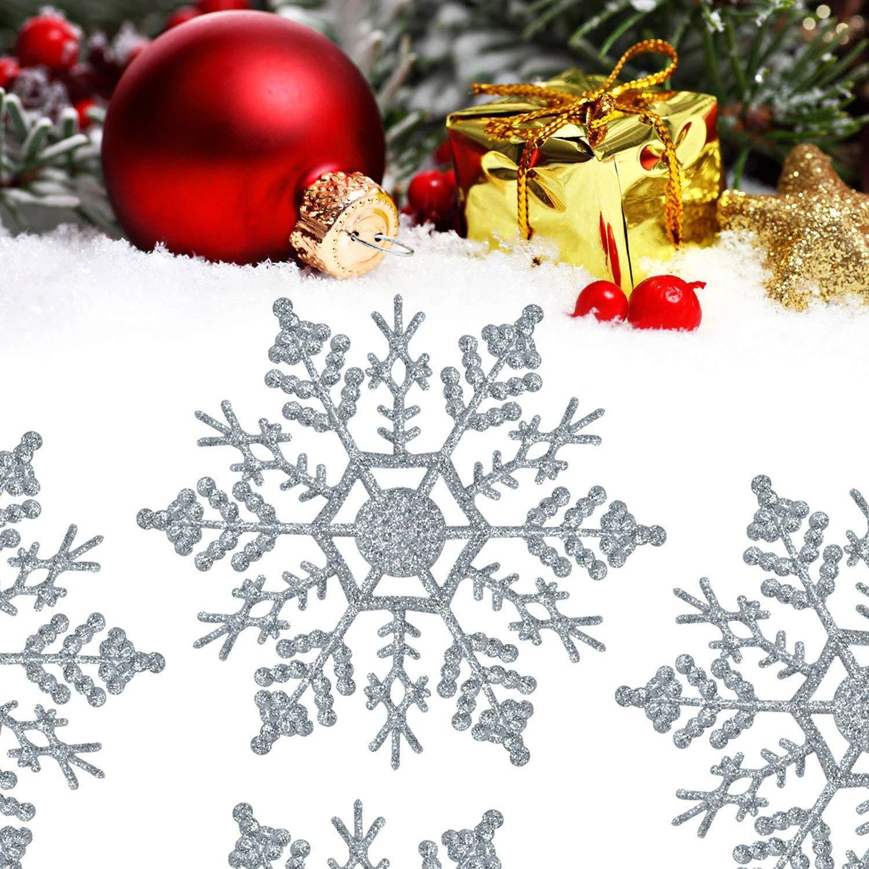 Plastic Snowflake Ornaments, XUELIEE 36 pcs Plastic Glitter Snowflake 4\