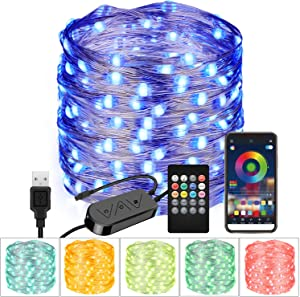 Moobibear 33FT RGB String Light, Bluetooth App Controlled 100 LED USB Fairy Light, Multi Color Changing Flexible Light with 20-Key Remote Control for Home Bedroom Patio Party Wedding Festivals