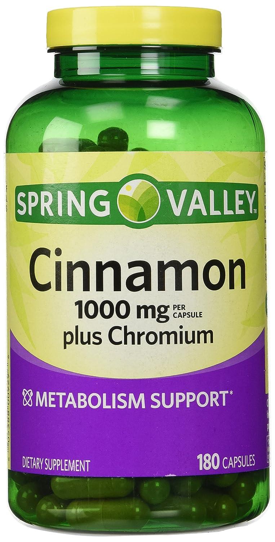 Spring Valley Cinnamon 1000mg Plus Chromium, 180 Capsules