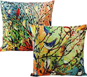 Unibedding Birds on Tree Decorative Throw Pillow Covers Oil Painting Cushion Cover for Sofa, Couch, Patio Home Fall Holiday Decor 18 x 18 Inch (2 Pack Birds)