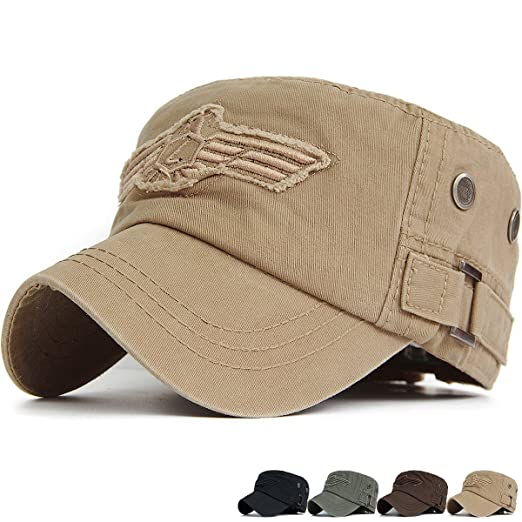 67f0e531bc2 REDSHARKS Cadet Cap Military Army Flat Top Hat Adjustable American USA  Eagle Embroidered Patch Ventilation Eyelet
