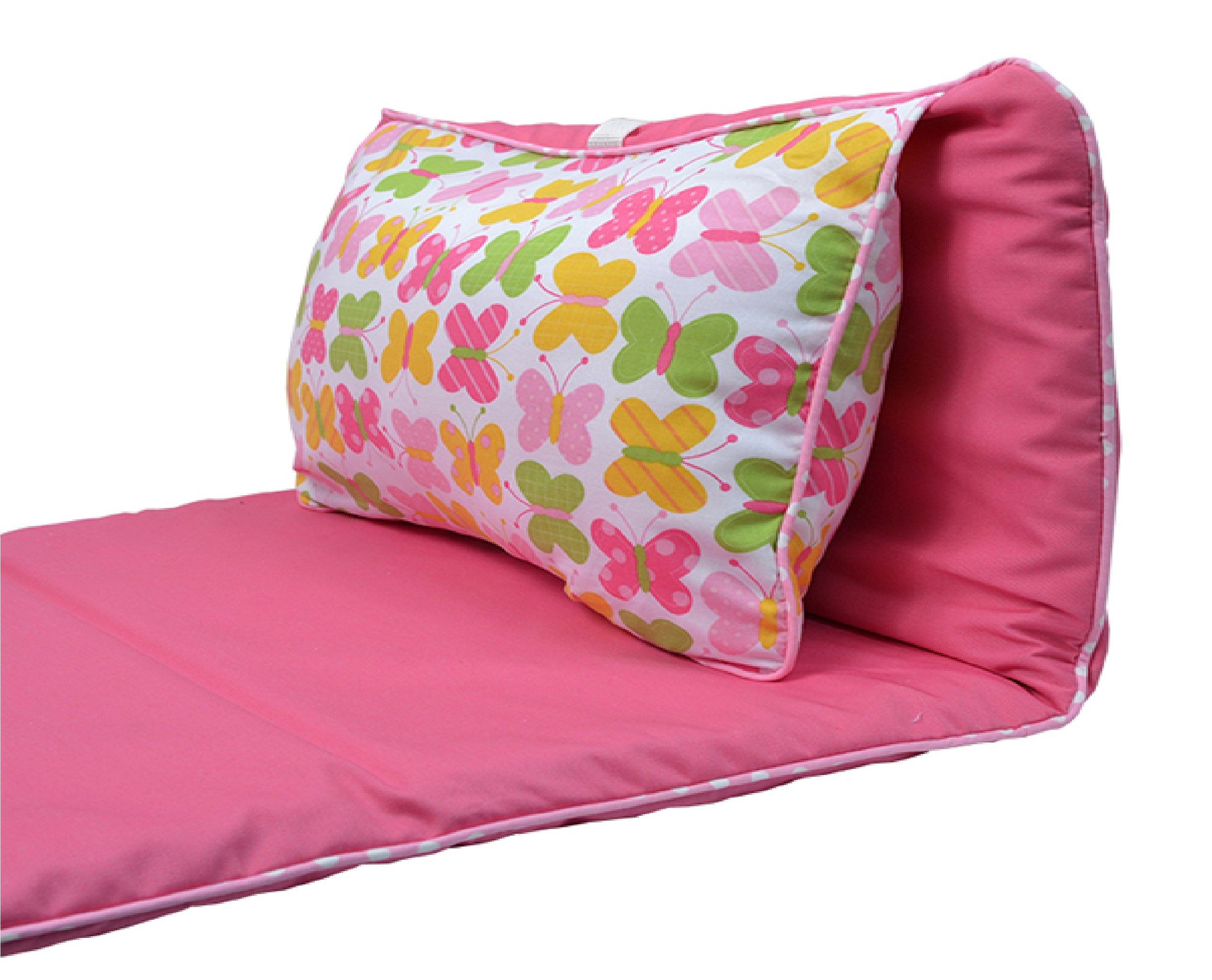 3Marthas Boutique Children Toddler Canvas Nap Mat (Pink - Butterfly Kisses)