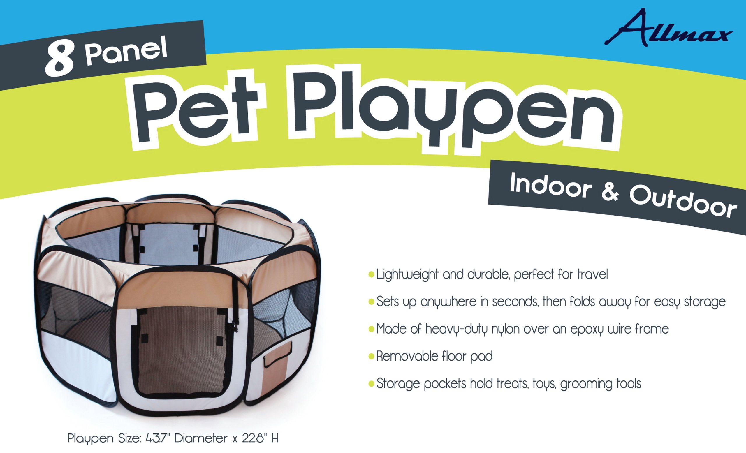 Allmax Folding Pet Playpen, Tan by Allmax (Image #2)