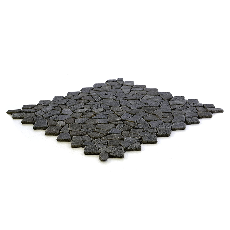 Divero 4 Fliesenmatten Naturstein Mosaik aus Andesit f/ür Wand und Boden dunkelgrau /á 56 x 56 cm