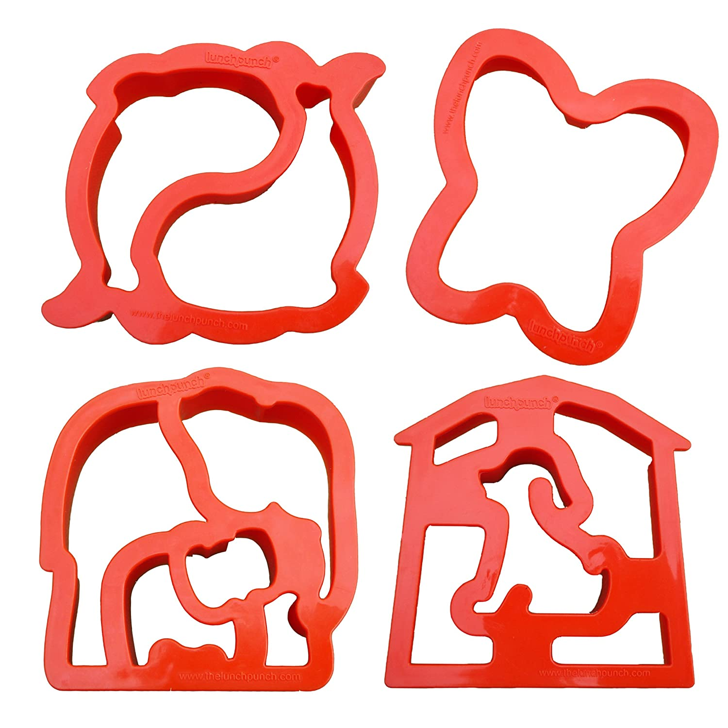 Lunch Punch Animal Shape Sandwich Cutters (Set of 4) Critter Cutters