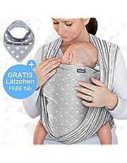 Écharpe de portage gris foncé - porte-bébé de haute qualité pour nouveau-nés et bébés jusqu'à 15 kg - en coton doux - incl. sac de rangement et bavoir bébé OFFERTS - design adorable de Makimaja®