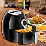 SUPER DEAL Deep Air Fryer Cooker 3.7 Quart Comes With Recipes, CookBook, Timer, Temperature Control , Detachable Dishwashable Basket
