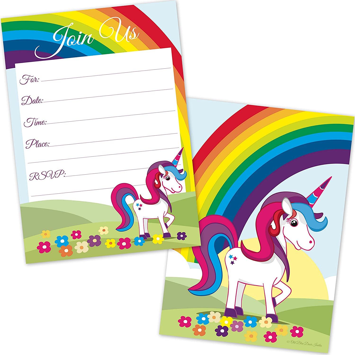 Amazon Com Kids Rainbow Unicorn Birthday Invitations For Girls
