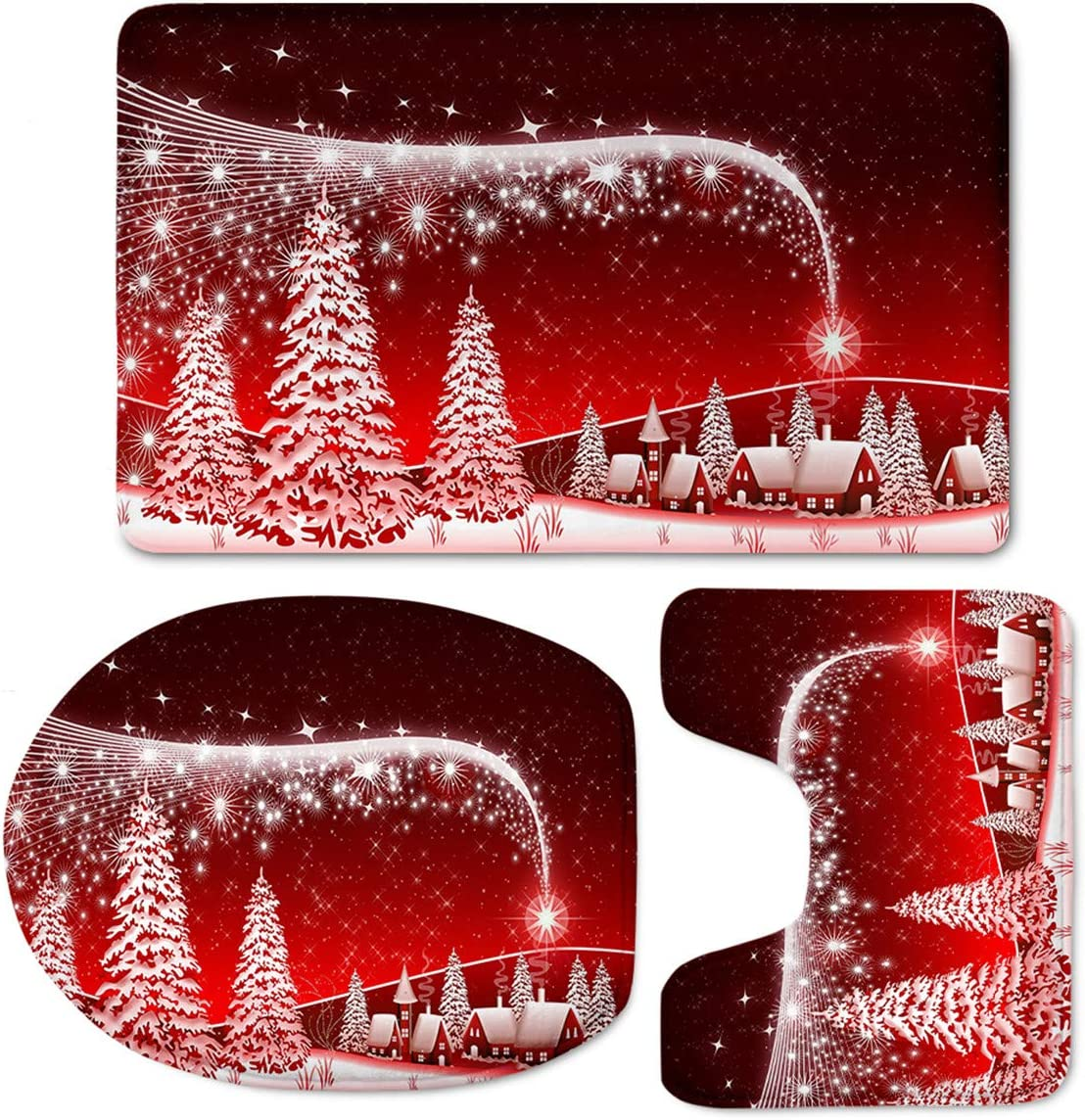 Christmas Door Mats, LedBack Funny Xmas Welcome Red Non Slip Doormats Rugs Indoor Doormat Front Door Floor Rugs Entry Way Patio Doormate Home Decorative Bedroom Rubber Carpet Snow Trees