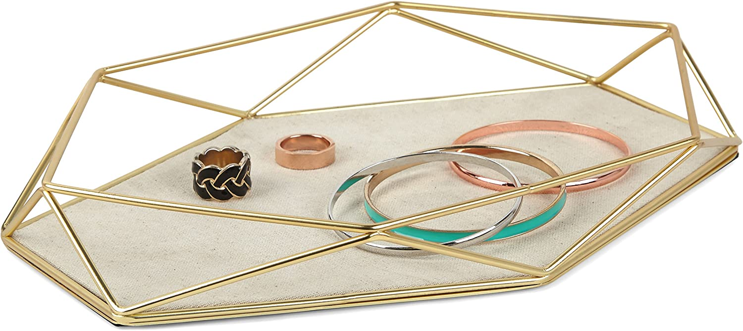Umbra Prisma Tray, Geometric Plated Jewelry Storage, 11 Length x 7.25 Height x 1.5 Width, Matte Brass