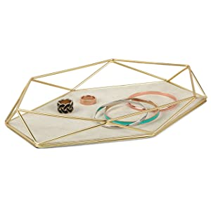 Umbra Prisma Tray, Geometric and Brass Plated Jewelry Storage, Matte