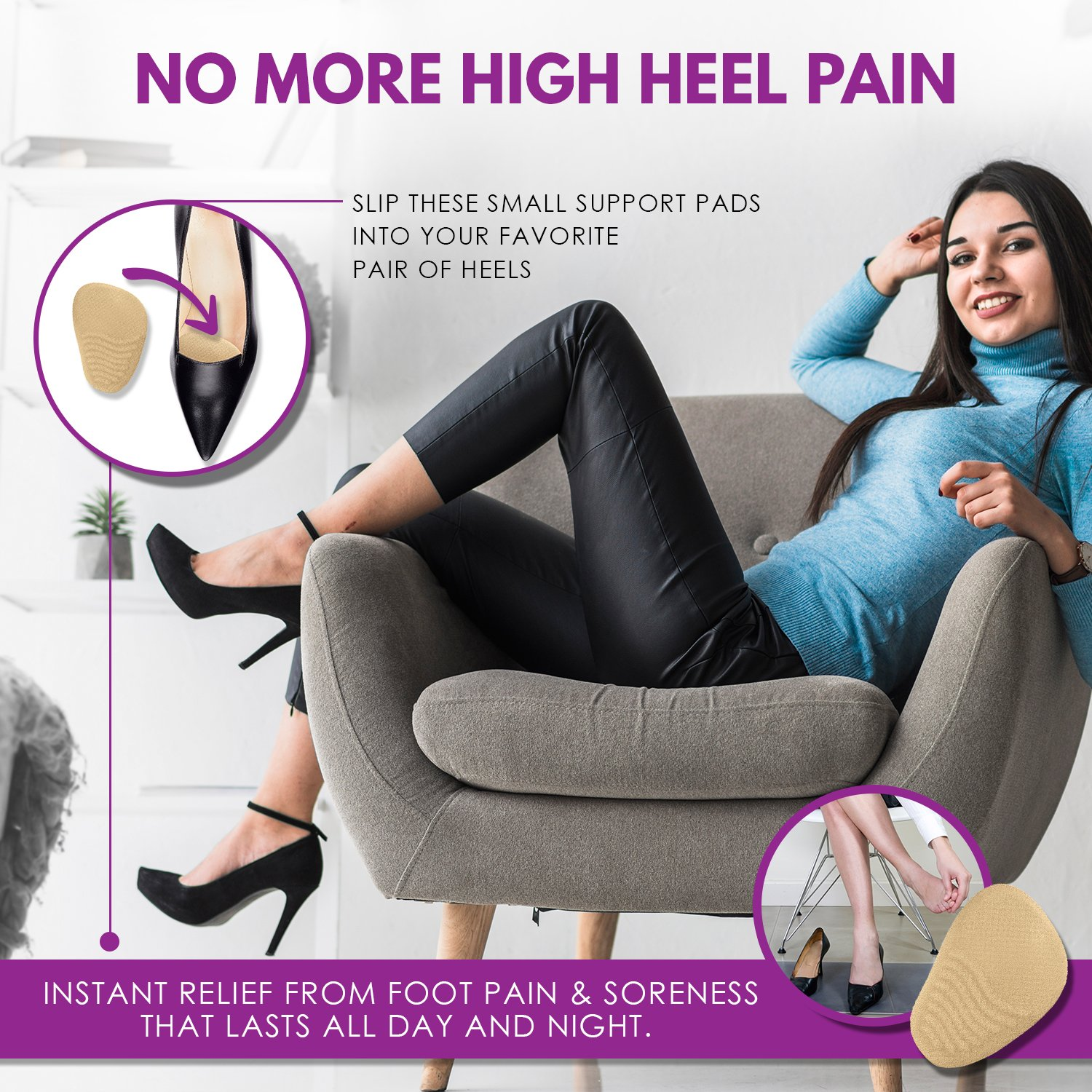 Metatarsal Pads for Women (4 Pairs: 8 Pieces) - Ball of Foot Cushions and High Heel Shoe Inserts | Protect Your Feet | Pain Relief from Neuroma, Bunions, Blisters, Callus, Metatarsalgia and Forefoot by Chambellan (Image #2)