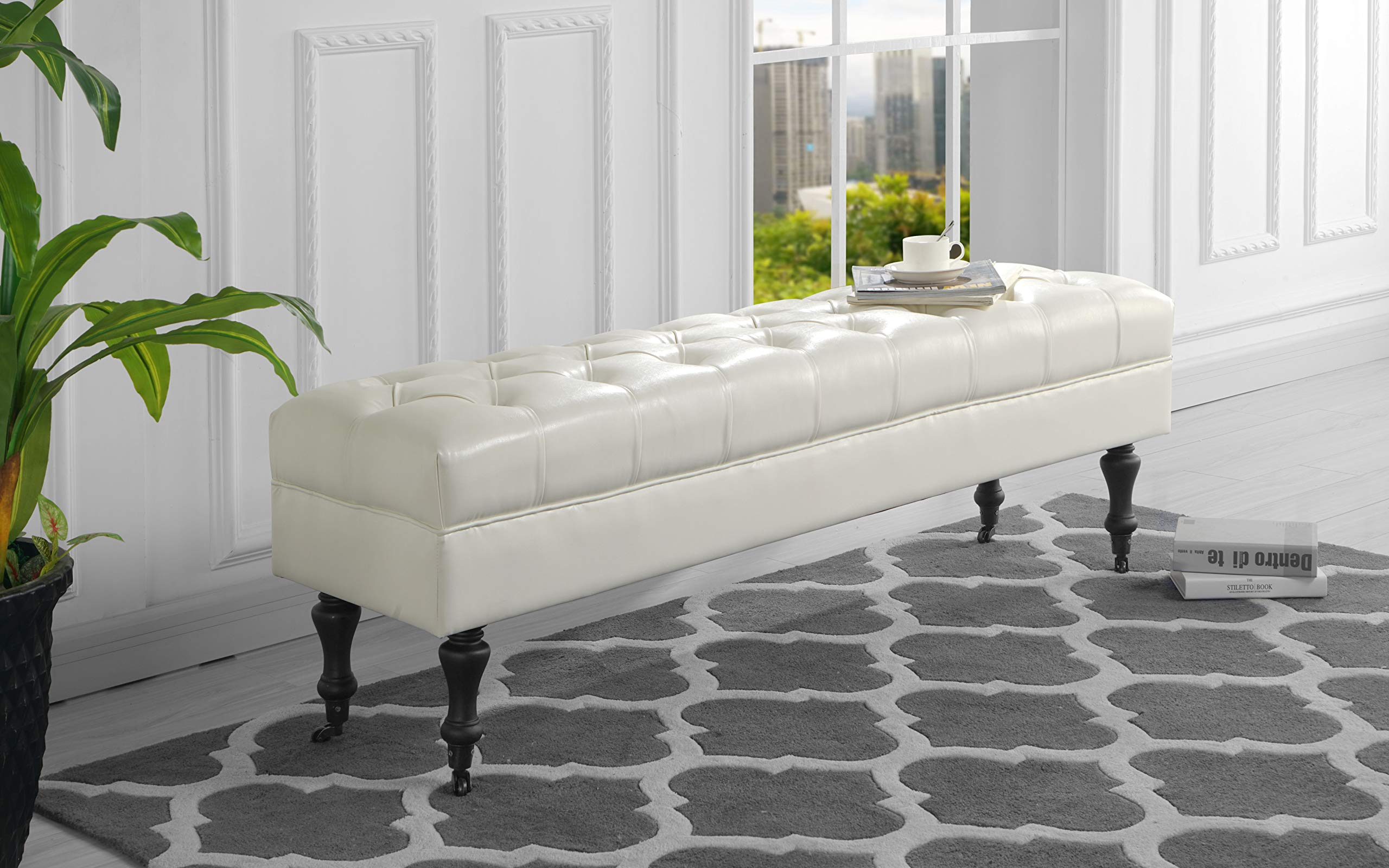 Housel Living HSL09 Bench, White by Housel Living
