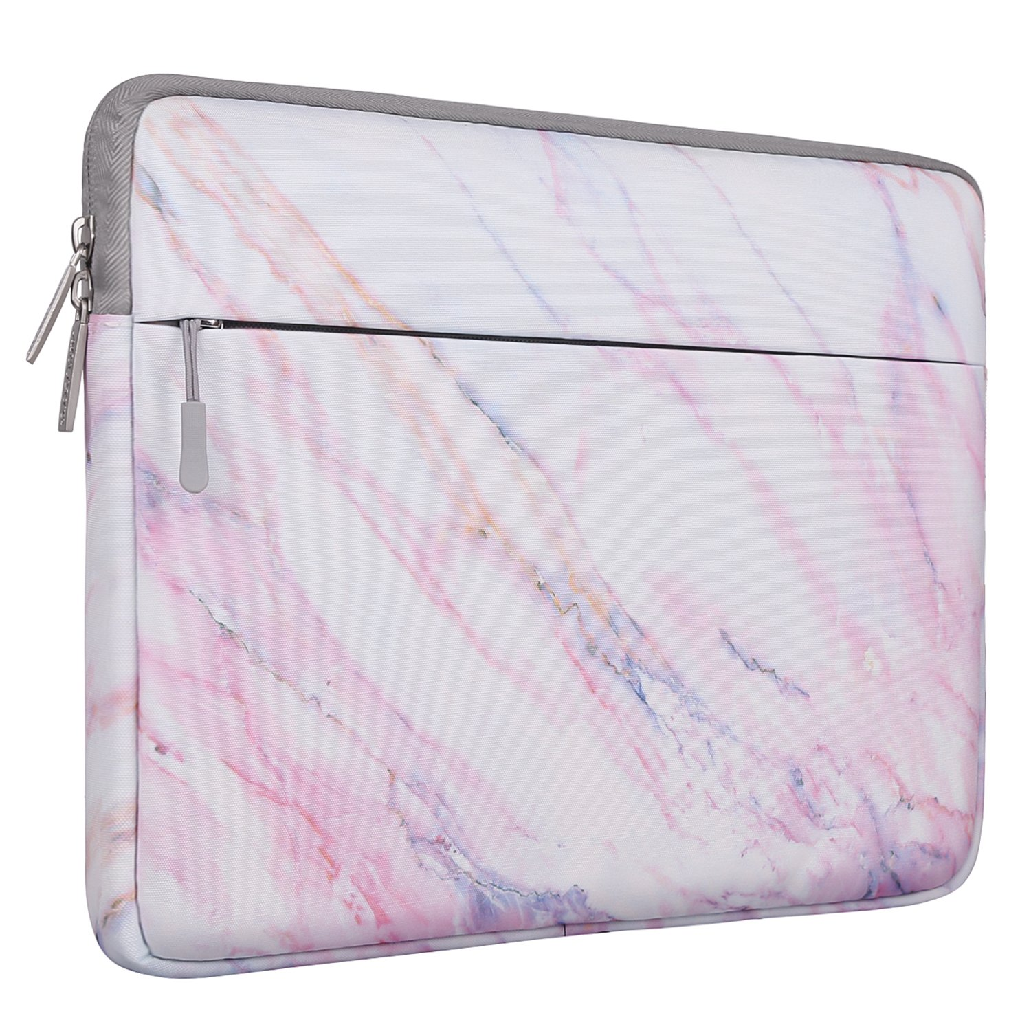 MOSISO Laptop Sleeve Bag Compatible 15-15.6 Inch MacBook Pro, Notebook Computer, Canvas Fabric Protective Carrying Case Cover, Pink Marble Pattern