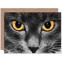 CAT Eyes Photograph Close UP Blank Greetings Birthday Card Art