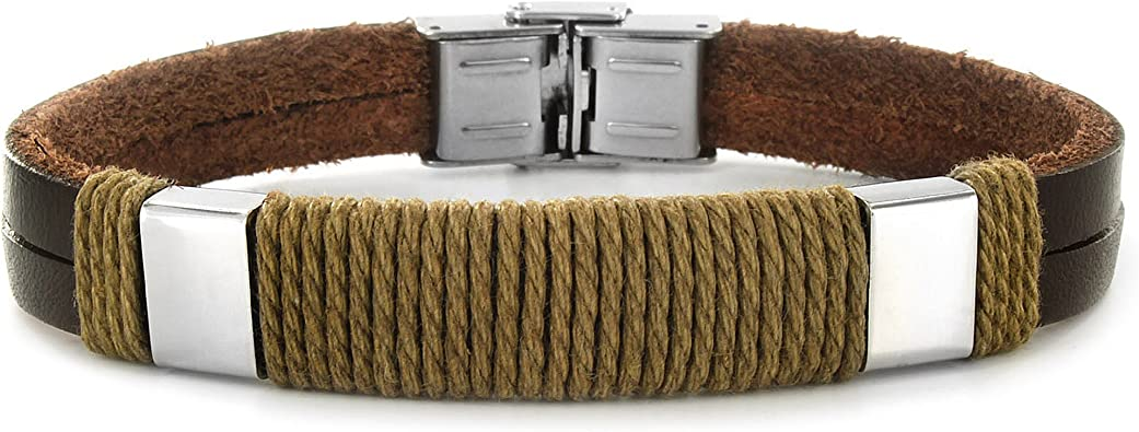 West Coast Jewelry Crucible Stainless Steel Cable Inlay Black Leather ID Bracelet