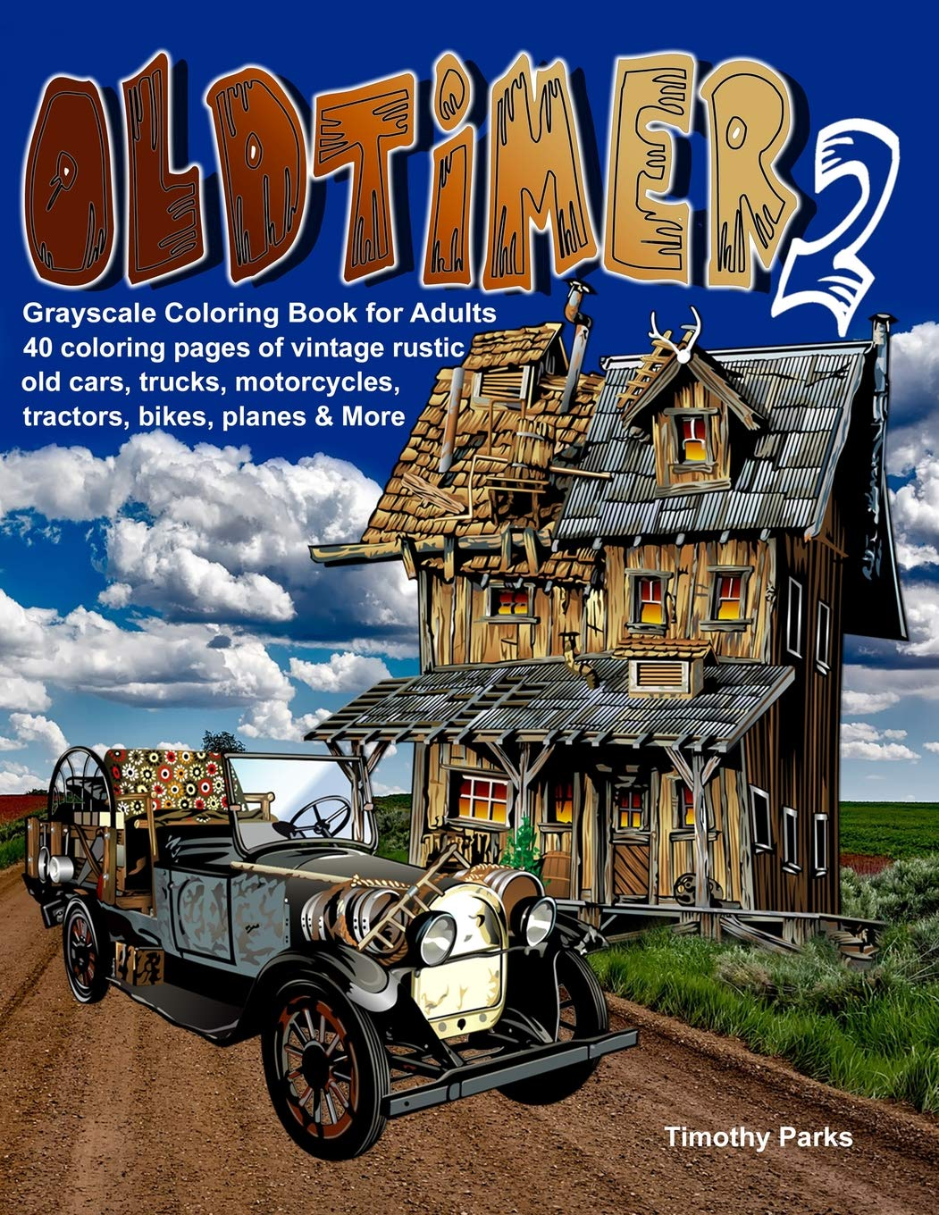 Amazon Oldtimer 2 Grayscale Coloring Book For Adults
