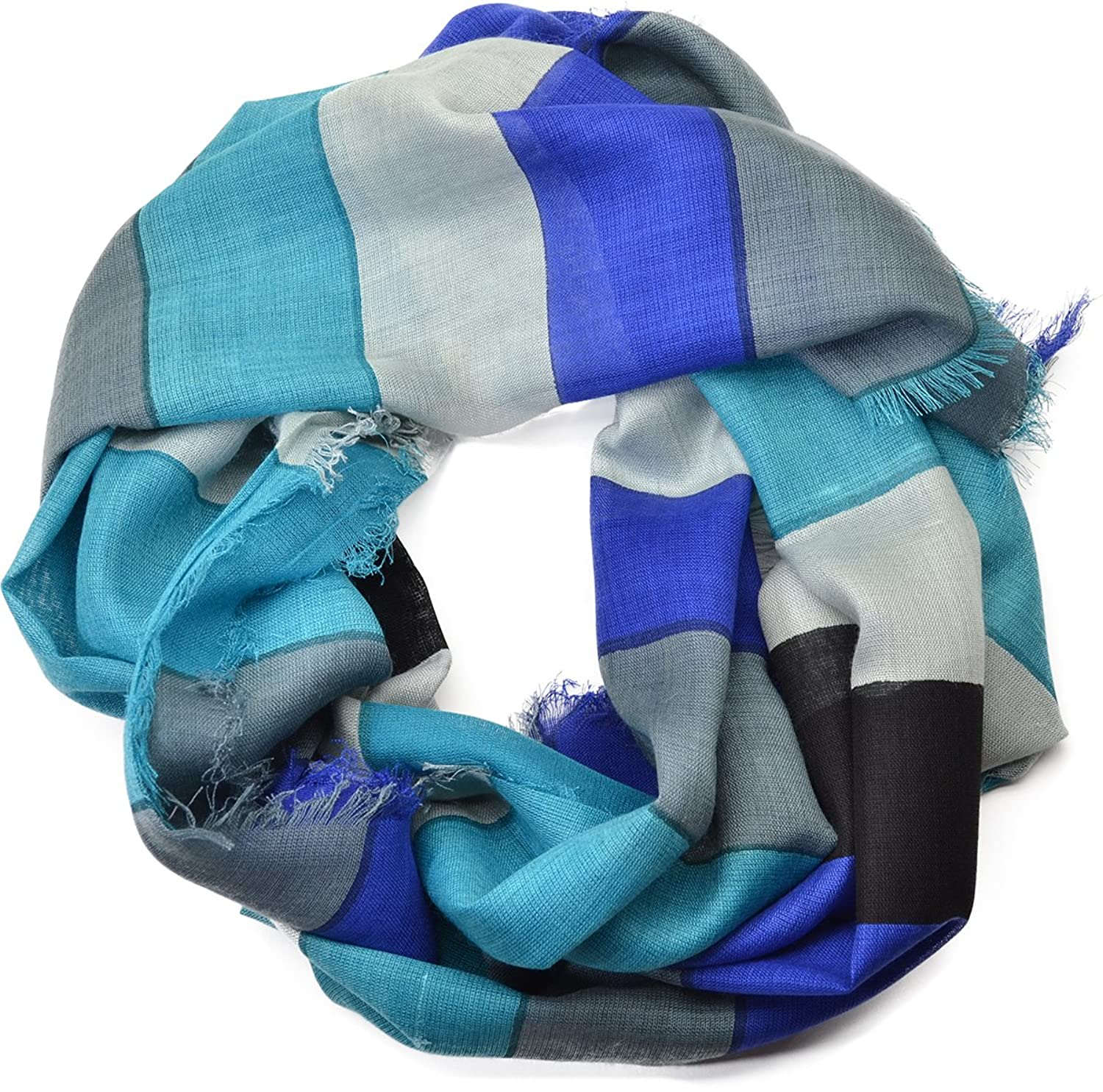 Cejon Womens Scarf Blue Thick Stripes Wrap Oblong Scarf