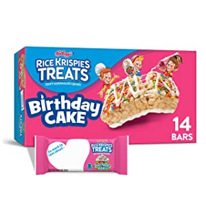 Kellogg's Rice Krispies Treats, Crispy Marshmallow Squares, Birthday Cake, 10.9oz Box (14 Count)