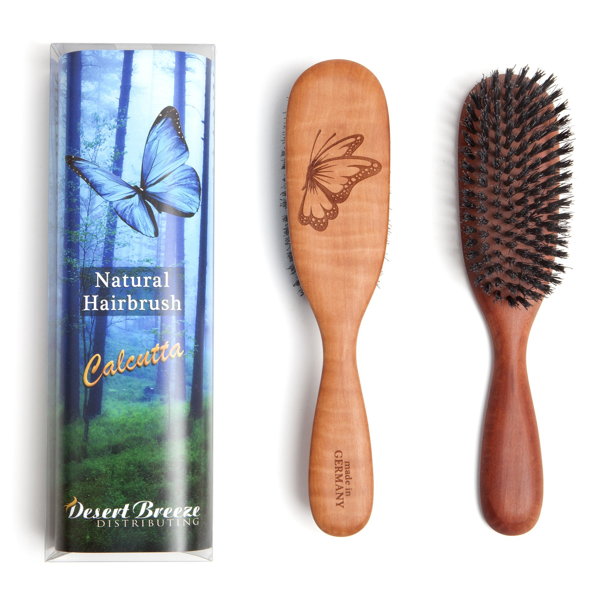 100% Pure Calcutta Wild Boar Bristle Hair Brush, Butterfly Engraving, PW1-CLC, Extra Stiff Natural Bristles, Medium Hair Thickness, Pear Wood Handle, Made in Germany, by Desert Breeze Distributing