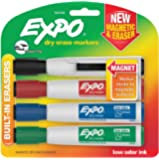 EXPO Magnetic Dry Erase Markers with Eraser, Chisel Tip, Assorted, 4-Count
