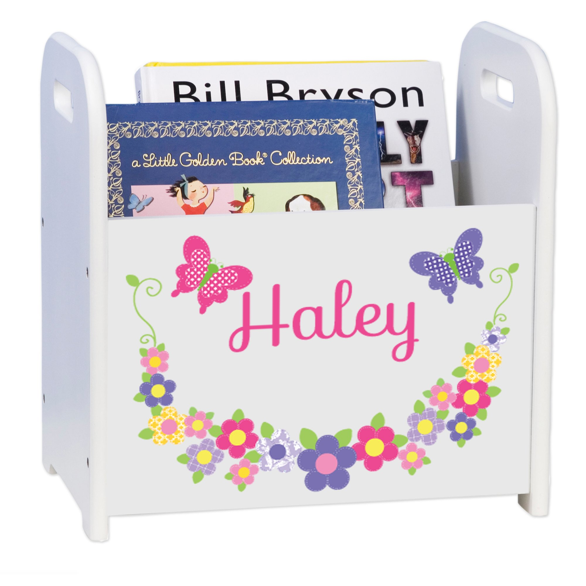 MyBambino Personalized Bright Butterflies and Flowers Book Caddy and Rack