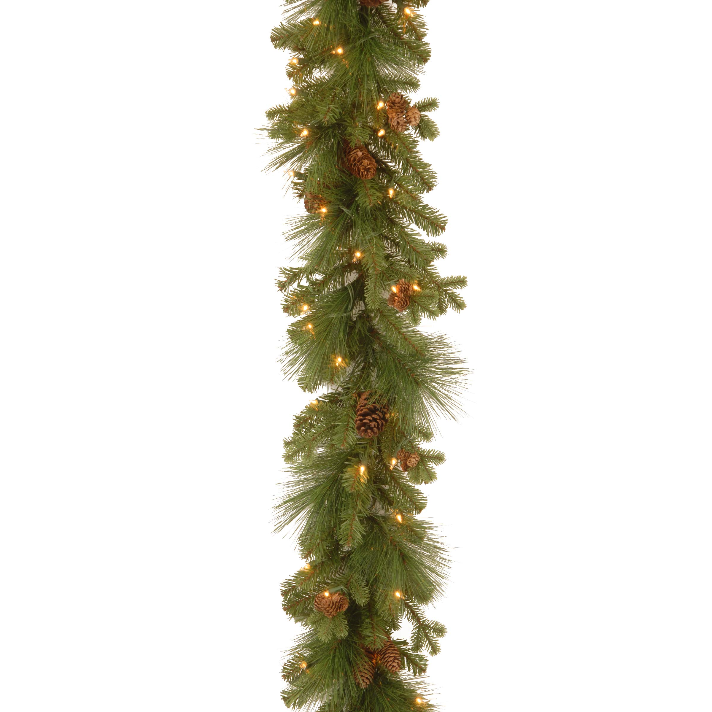 National Tree 9 Foot by 12 Inch Feel Real Eastwood Spruce Garland with 45 Mixed Cones and 70 Clear Lights (PEEW3-300-9B-1)