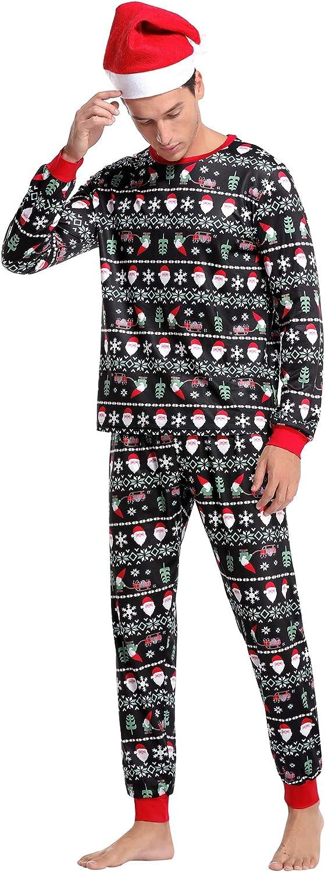 Aibrou Vater Weihnachten gestreift Schlafanzug lang Rundhals Xmas Pullover Pyjama Set Langarm Shirt und Pyjamahose