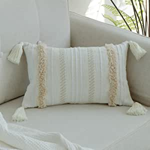 blue page Woven Tufted Tassel Throw Pillow Covers Fringe Sofa Couch Cushion Cover Decorative Square Cotton Pillows Cover ONLY (Cream 16X16''), Cotton, Cream, 12x20inch