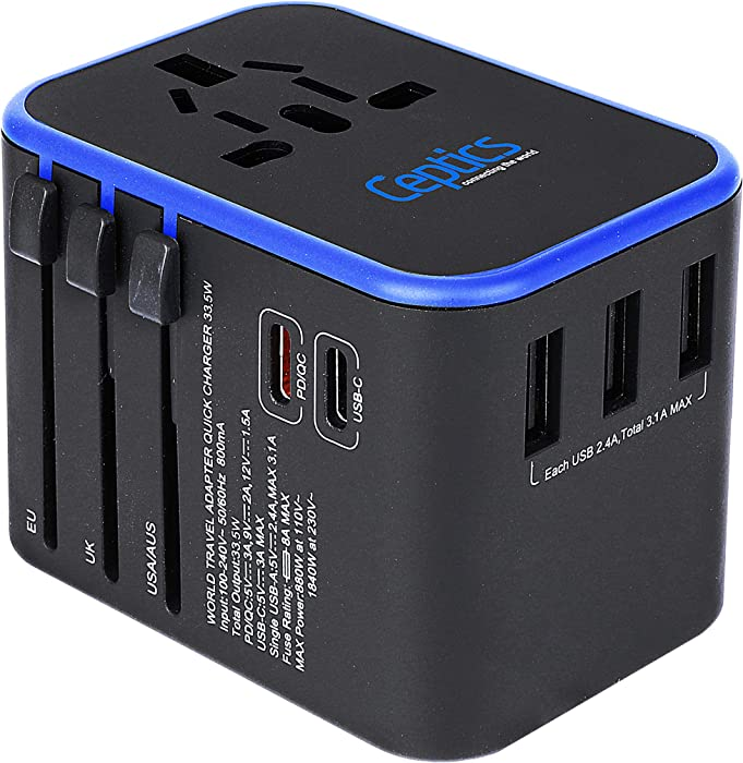 World International Travel Plug Adapter by Ceptics - Powerful 33.5W with Pd & QC 3.0 Dual USB-C Power - 3 USB Ports Wall Charger Type I C G A Outlets 110V 220V A/C - EU Euro US UK (11-KU)