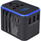 World International Travel Plug Adapter by Ceptics - Powerful 33.5W with Pd & QC 3.0 Dual USB-C Power - 3 USB Ports Wall…