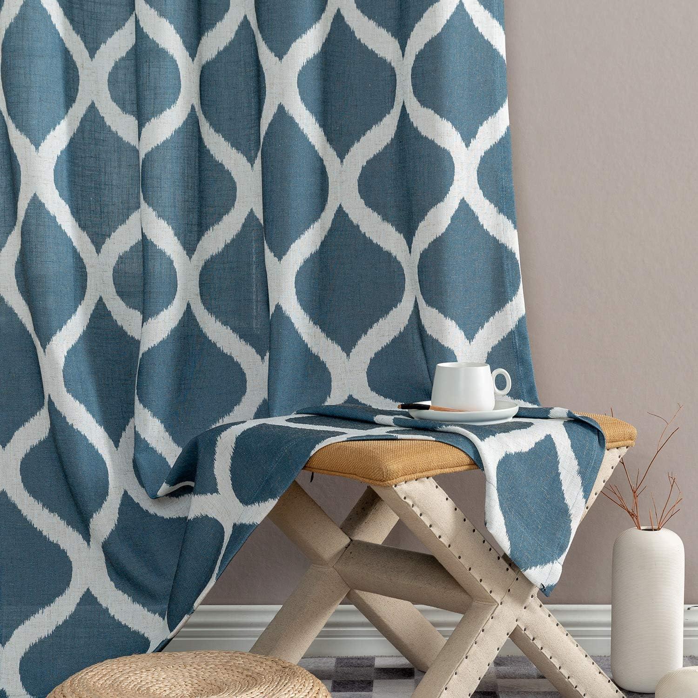 jinchan Linen Curtains Ogee Pattern Textured Lattice Grommet Top Window Panels Drapes for Bedroom Living Room Window Patio Door 2 Panels 50 Inch x 84 Inch Blue on Beige
