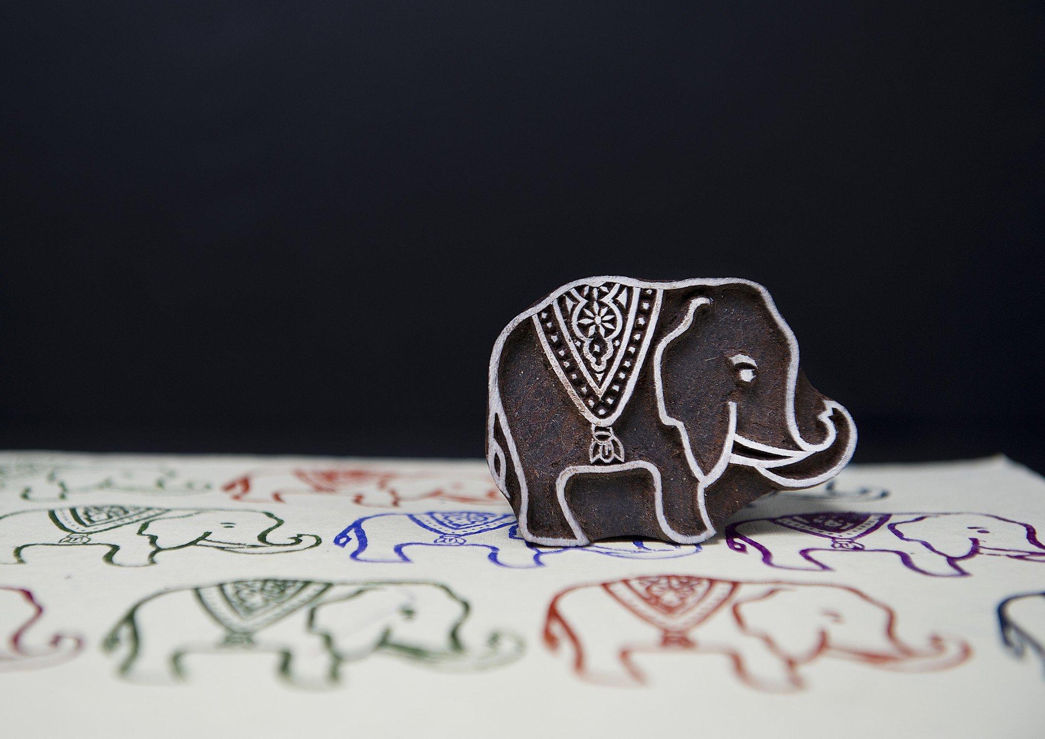 Blockwallah Royal Elephant Wooden Block Stamp