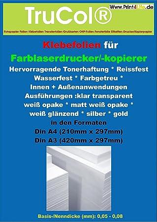 10 Blatt DIN A4 Hitzebeständige, Selbstklebende Und Glänzende KLARE  Polyester Folie Klebefolie Druckerfolie, Klebend, Zum Bedrucken, ...