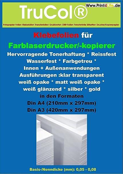 10 Blatt DIN A4 hitzebeständige, selbstklebende und glänzende KLARE Polyester Folie Klebefolie Druckerfolie, klebend, zum Bedrucken, Wetterfest,