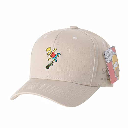 bb65594f982 WITHMOONS The Simpsons Ball Cap Bart Skateboard Matt Groening HL1582 (Beige)