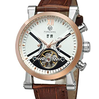 Forsining Mens Steampunk Automatic Tourbillon Calendar Brown Genuine Leather Wrist Watch FSG2371M3T2