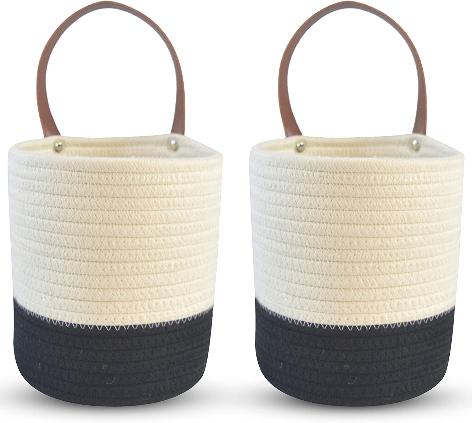 """2-Pack Cotton Rope Hanging Baskets - Small Boho Woven Planter for Indoor Plants & Flowers - Farmhouse Decor Wall-Mounted Storage with Handle for Home, Bathroom, Entryway - 6.3"""" x 7"""" - White & Black"""