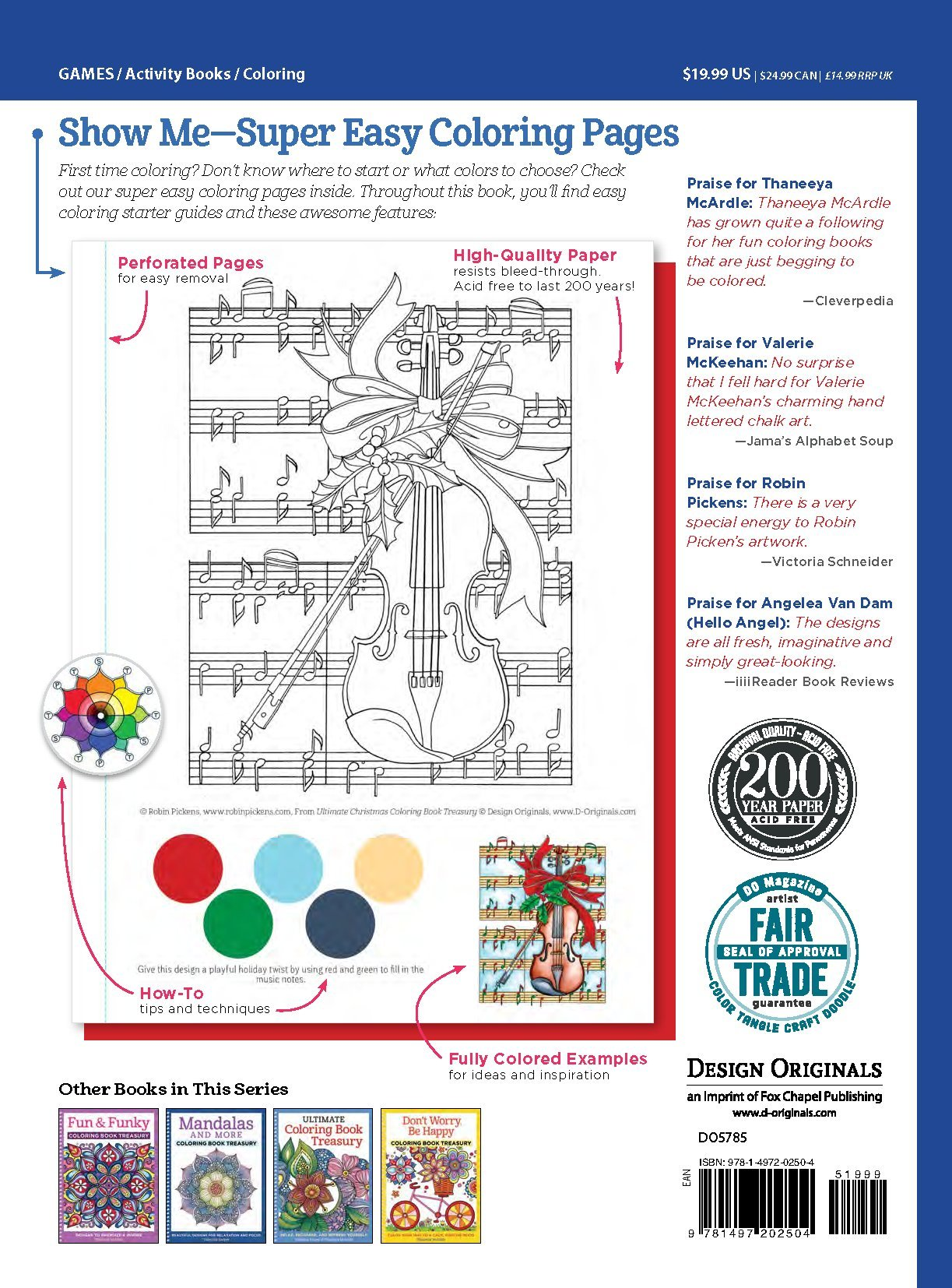 amazoncom ultimate christmas coloring book treasury color the season merry bright design originals 208 pages of one side only holiday designs in