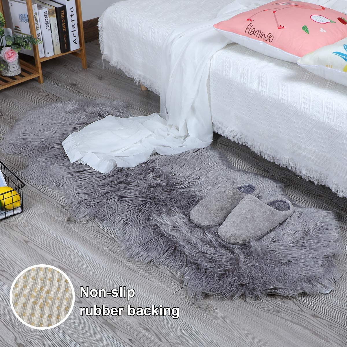 HLZHOU New 2019 Upgraded Non-Slip Faux Fur Rug, Fluffy Rug, Shaggy Rugs,Faux Sheepskin Rugs Floor Carpet for Bedrooms Living Room Kids Rooms Decor 2×5.3 Feet 60 x 160cm , Double Shape Gray