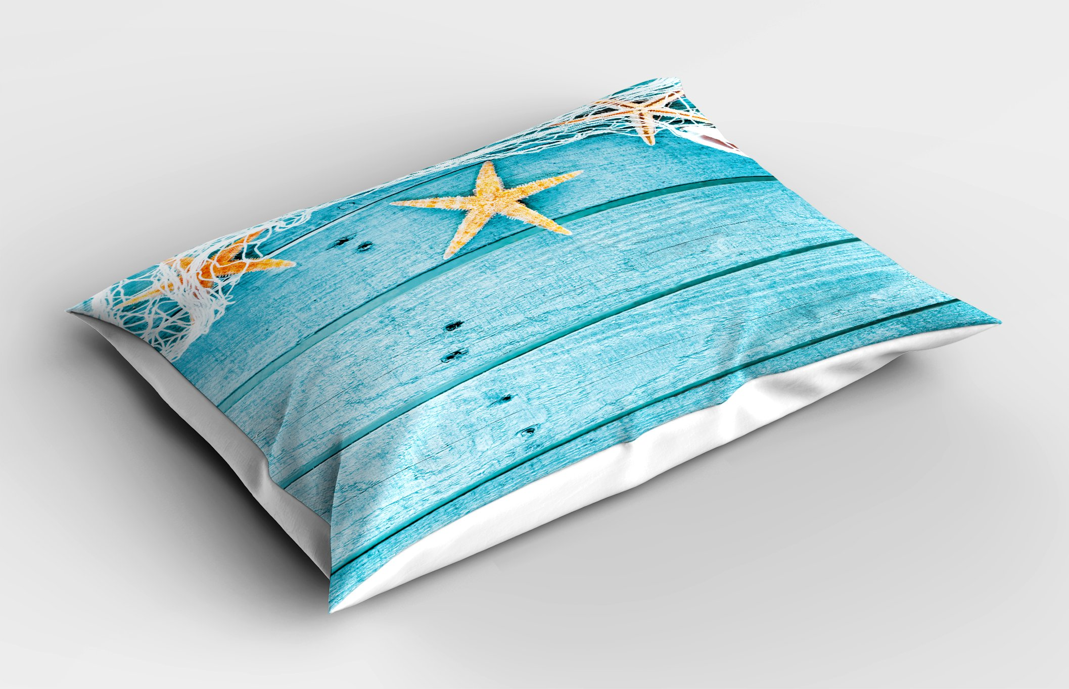 Ambesonne Starfish Decor Pillow Sham, Rustic Wood Boards Fishing Net and Ocean Animals Nautical Print, Decorative Standard Queen Size Printed Pillowcase, 30 X 20 inches, Turquoise White Orange by Ambesonne (Image #2)