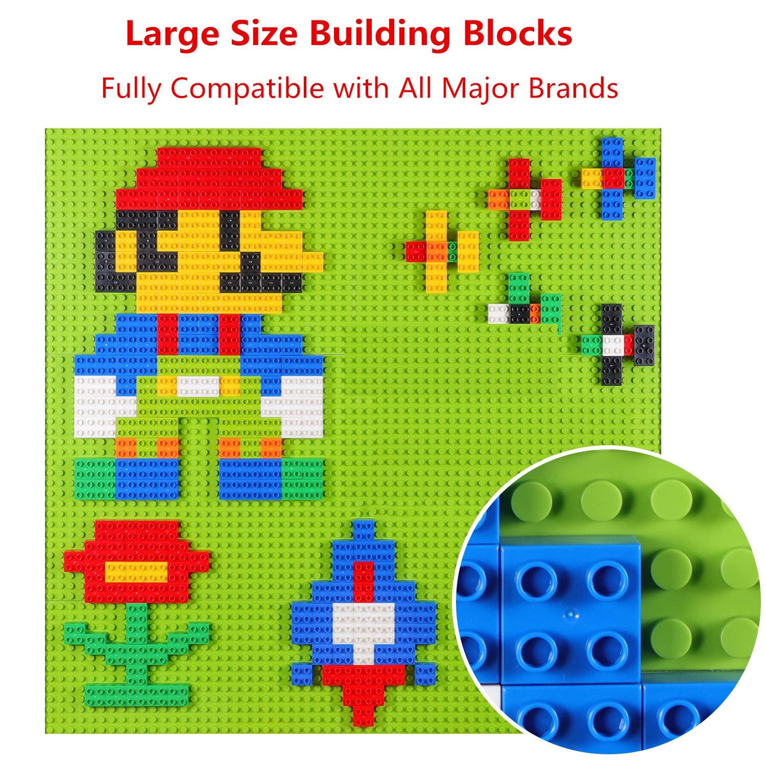 burgkidz Big Building Block Sets - 214 Pieces Toddler Educational Toy Classic Large Sizes Building Blocks Bricks - 13 Fun Shapes and Storage Bucket - Compatible with All Major Brands by burgkidz (Image #4)