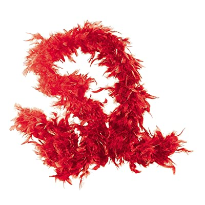 Fun Express - Red Feather Boa - Apparel Accessories - Costume Accessories - Costume Props - 1 Piece: Toys & Games