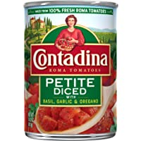 Contadina Canned Petite Diced Roma Tomatoes with Basil, Garlic & Oregano, 14.5-Ounce Cans (Pack Of 12)
