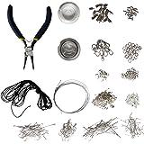 Kit de Création de Bijoux Apprêts en Plaqué Argent avec Pince à Bec Long par Kurtzy - Câbles, Cordons, Mousquetons et Plus - Ensemble d'Outils Professionnels pour Colliers et Boucles d'Oreilles