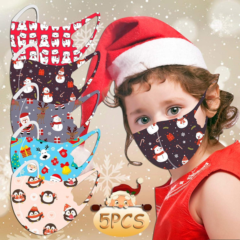 Yukii 4//5//6 St/ück Weihnachten Cartoon Gedruckt Mundschutz Kinder Gesichtsbedeckung Waschbar Atmungsaktiv Wiederverwendbar Staubschutz Sch/öne Lustig Multifunktionstuch Bandana Freizeit