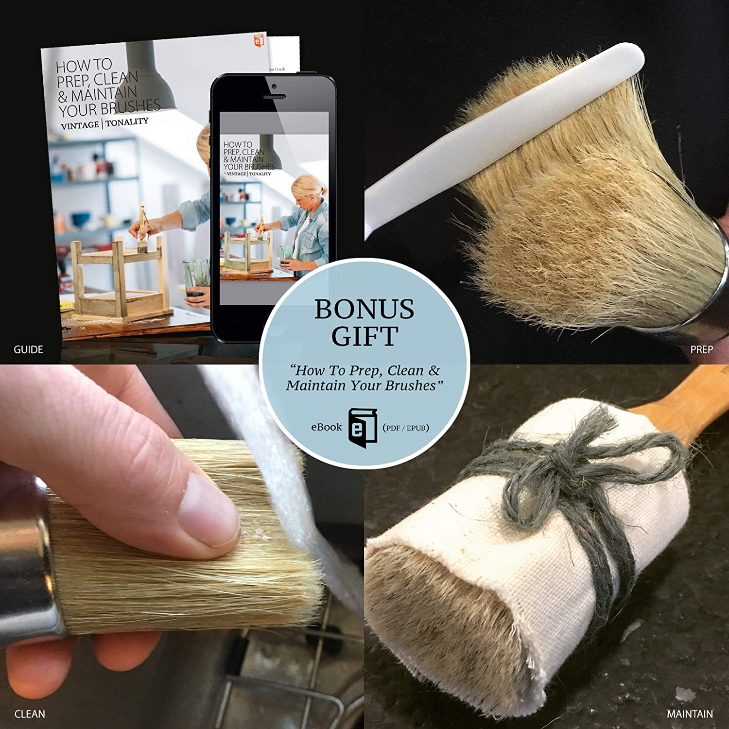 Vintage Tonality Chalked Based Paint Brush Set for Furniture 3 Brushes Large Small Round and Pointed Natural Boar Hair Bristles for Wax Stencil and Milk Paint