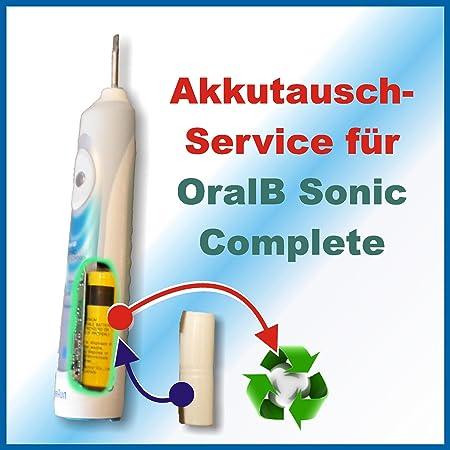 Profi Akkutauschservice für alle Schallzahnbürsten von Braun Oral B Sonic Complete mit 1600 mAh 4729 DLX S18.535.3ACHTUNG!!! Ohne