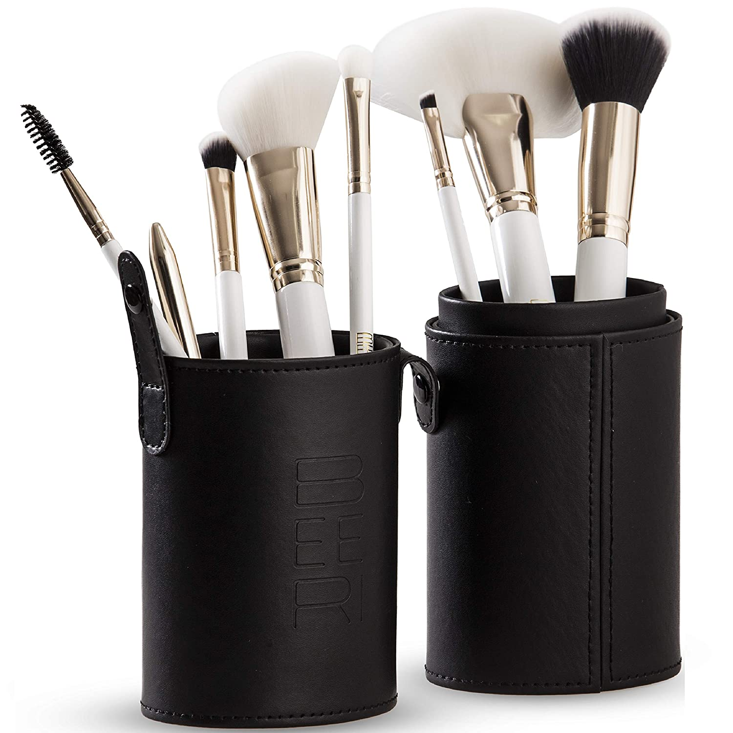 Professional Makeup Brush Set - 8 Ultra-Soft, Synthetic Cosmetic Brushes and Travel Case/Holder - Complete Set of Makeup Brushes for Face, Eye, Brow, and Complexion by BEERI.